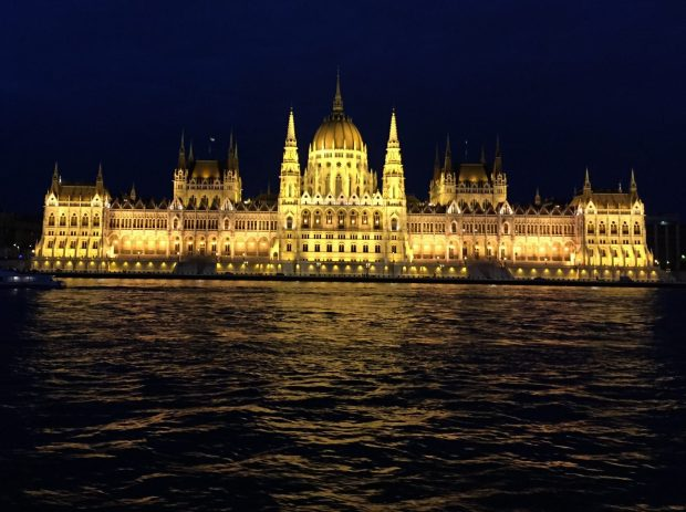 The Hungarian Parliament as seen from the Danube River